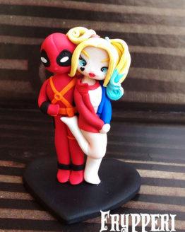 Cake Topper Personalizzato Deadpool Harley Quinn